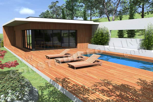 Plan de maison contemporaine caravelle for Construction piscine sur terrain en pente