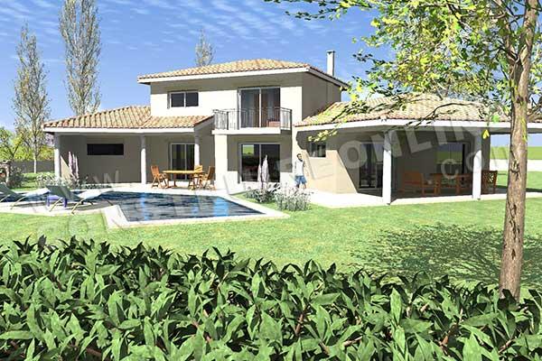 Plan de maison traditionnelle bartavelle for Plan maison garage a droite