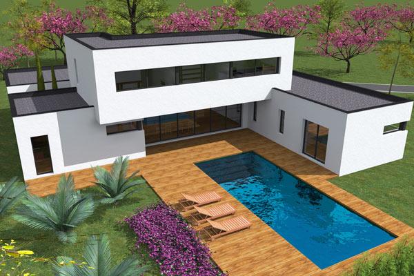 Plan de maison contemporaine lounge for Plan architecte maison 3d