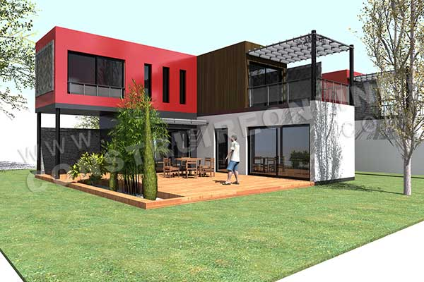 Plan de maison contemporaine modulo 1 for Maison container maritime