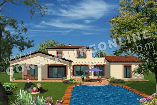 Plan de maison traditionnelle solarium for Modele plan maison etage