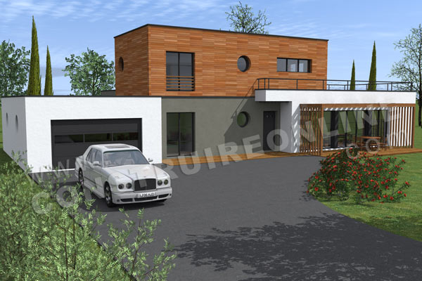 plan maison contemporaine garage BOREAL