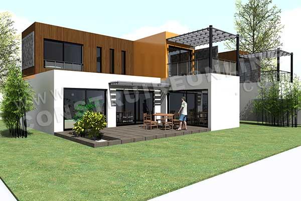 Plan de maison contemporaine modulo 2 - Photo terrasse maison ...