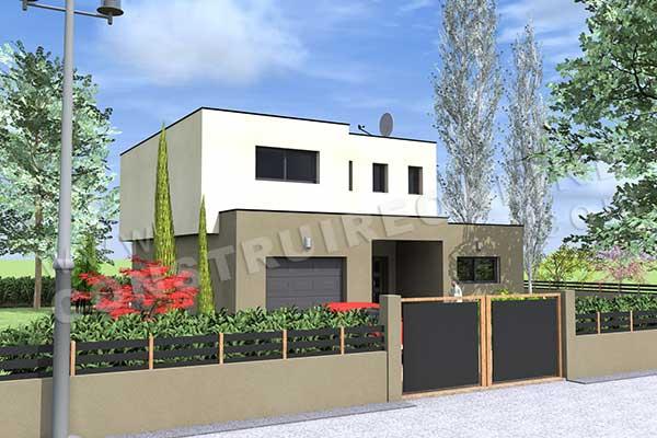 Plan de maison contemporaine rainbow for Interieur maison cubique