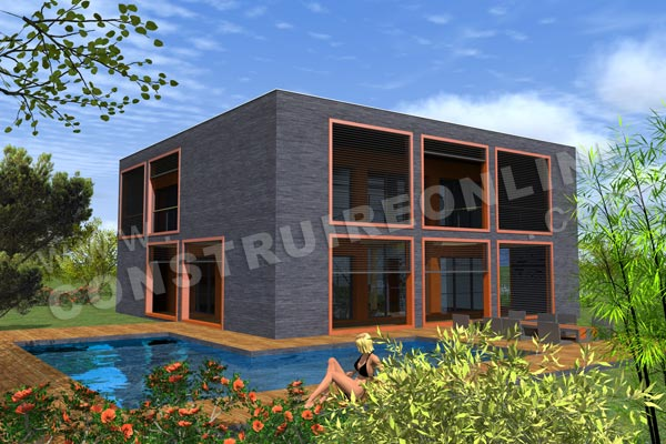 Plan de maison etage contemporaine cubique BOXY vue piscine