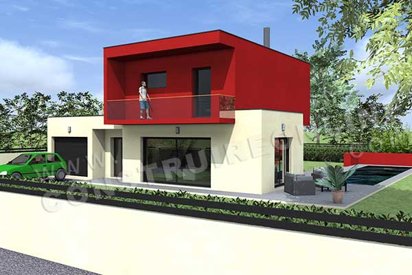 Plan de maison contemporaine oslo for Plan maison cubique 150 m2
