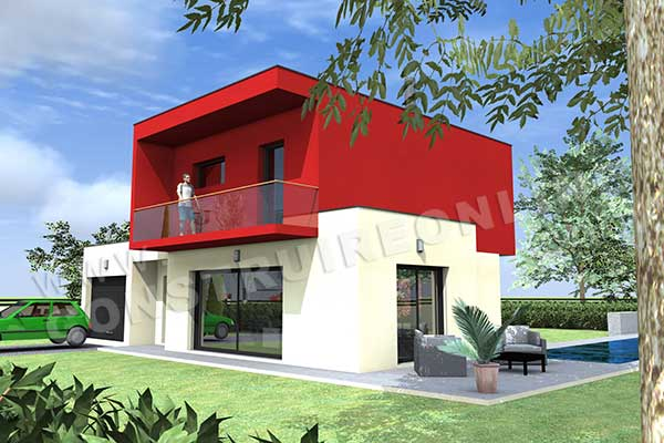 Plan de maison contemporaine oslo for Interieur maison cubique