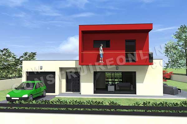 Plan de maison contemporaine oslo for Plan interieur de maison cubique
