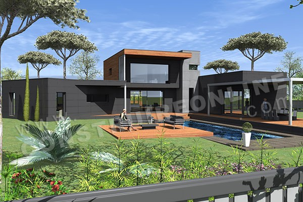 Plan de maison contemporaine allure for Plan maison moderne en u