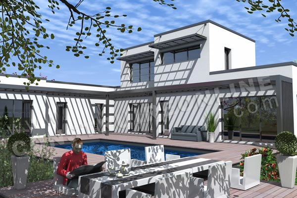 plan maison contemporaine piscine HYPE