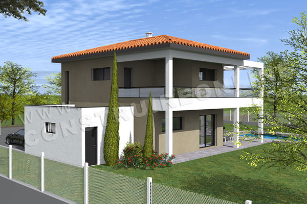 Plan de maison moderne birdy for Plan maison duplex