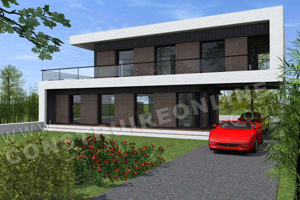 Plan maison architecte contemporaine SCABIOSA abri