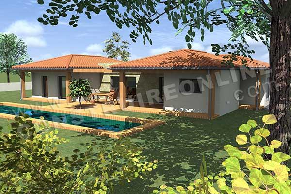 Vente de plan de maison en u for Plan maison terrasse