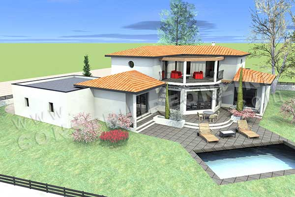 Plan de maison moderne eterna for Plan villa moderne 200m2