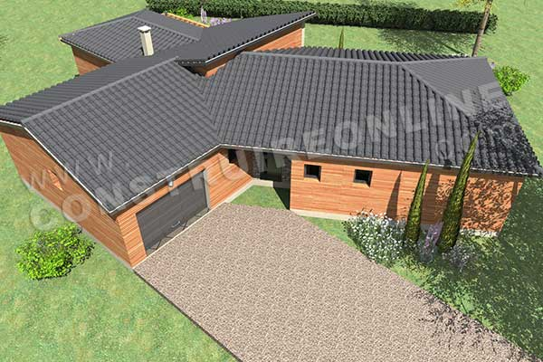 Plan de maison enjoy - Plan maison en v plain pied ...
