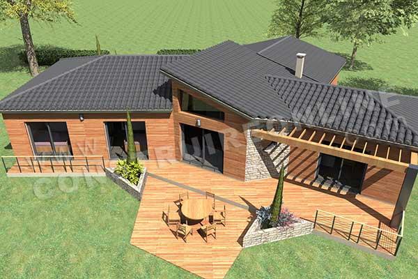 Plan de maison moderne enjoy for Plan maison plain pied avec piscine