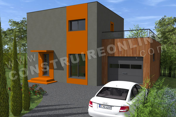 plan maison contemporaine garage SIGMA