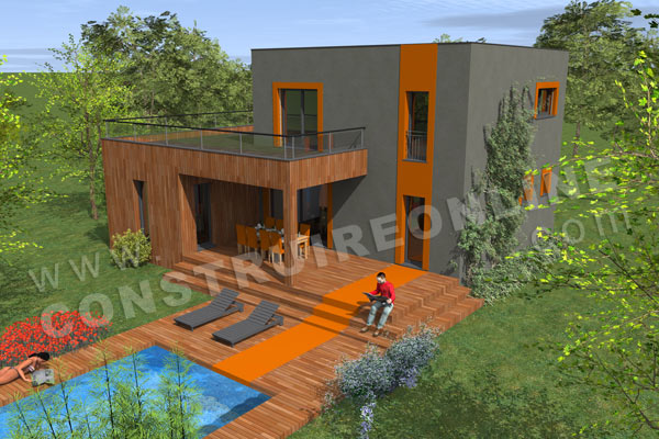 plan maison contemporaine terrasse SIGMA