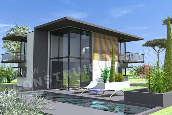 Plan maison contemporaine 5 chambres images for Maisons contemporaine