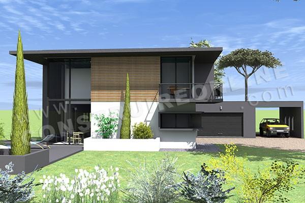 Plan de maison contemporaine delta for Maison ultra contemporaine