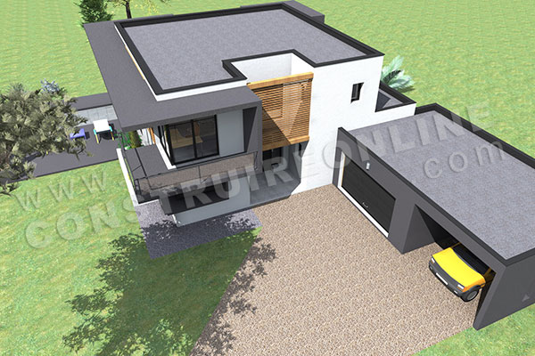 Vue En Plan Des Maisons Jumellées : Plan de maison contemporaine delta