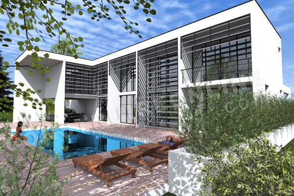 plan maison contemporaine piscine IOTA