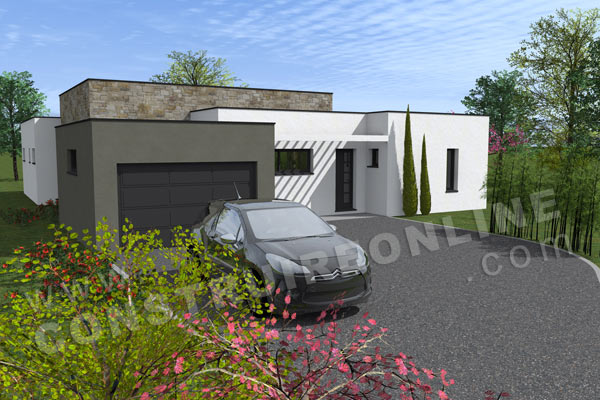 plan maison contemporaine garage EQUATION
