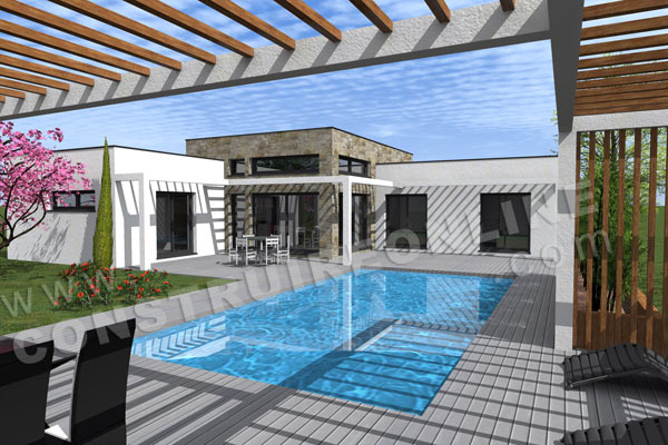 plan maison contemporaine pool house EQUATION