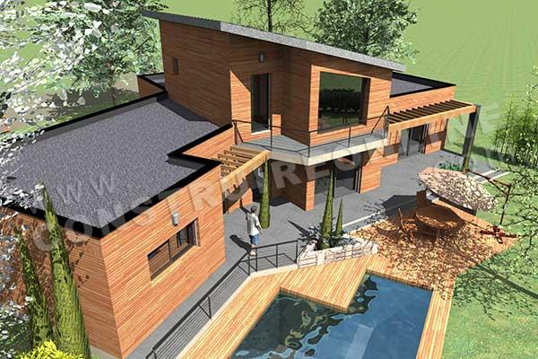 Plan de maison moderne bahia for Maison a etage moderne