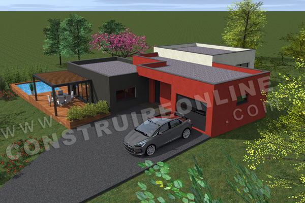 plan maison contemporaine dessus garage ENCELADE