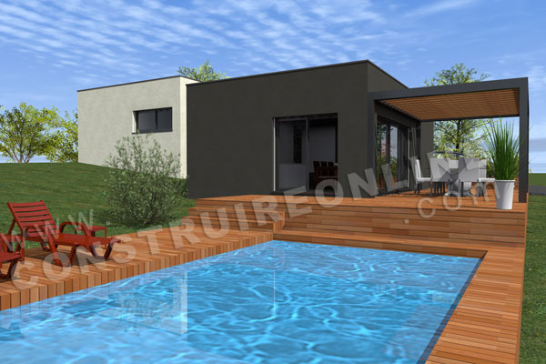 plan maison contemporaine plage piscine ENCELADE