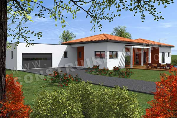 Vente de plan de maison plain pied for Entree maison contemporaine
