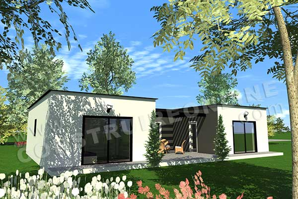 Vente de plan de maison en u for Plan maison contemporaine en u