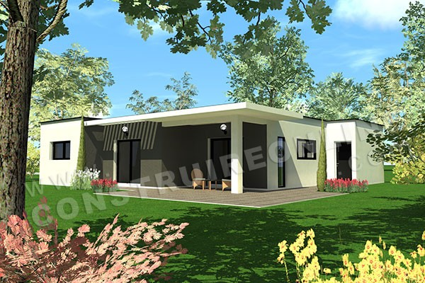 Plan de maison contemporaine travel for Plan interieur maison en u