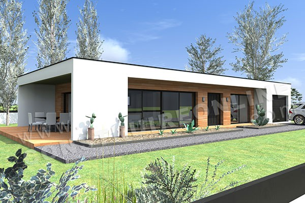 Vente de plan de maison contemporaine for Modele maison cubique plain pied