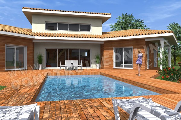 Plan de maison moderne tripode for Modele maison avec piscine