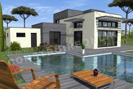 plan maison contemporaine piscine OMEGA