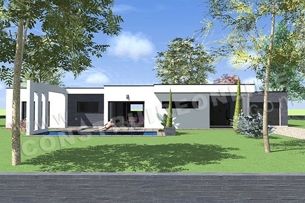 Plan de maison contemporaine anaby for Maison toit plat en l