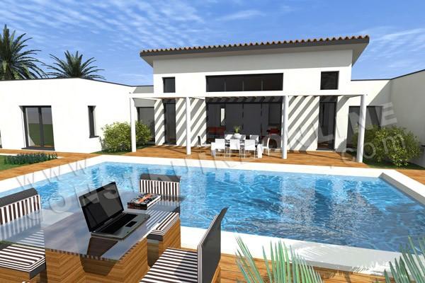 plan maison moderne piscine pacific - Maison Moderne Contact