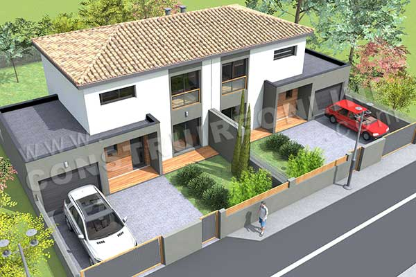 Plan de maison moderne gazoline for Plans en 3d