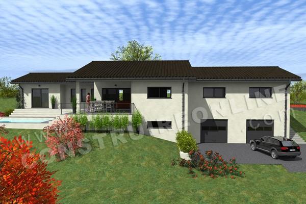 Plan de maison moderne capucine for Plan maison sous sol complet