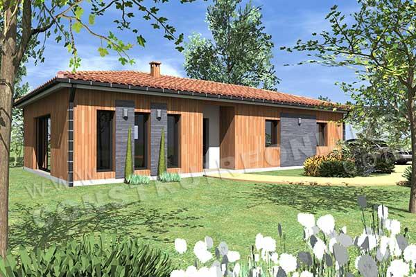plan de maison de plain pied avec 3 chambres ~ Maison En Bois Morbihan