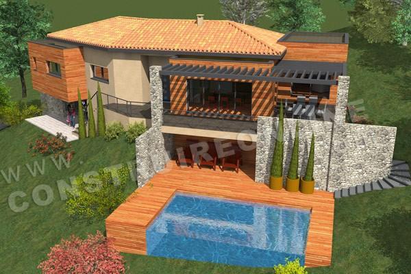Plan de maison moderne sartene for Maison avec sous sol prix