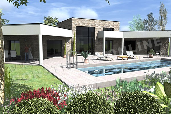 plan maison contemporaine en v