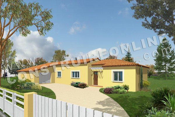 plan de maison modele pignon break vue 3d
