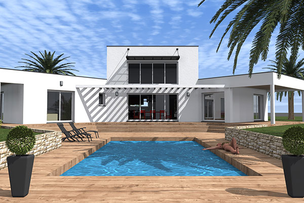 Plan de maison contemporaine epitaph for Plan villa moderne 200m2