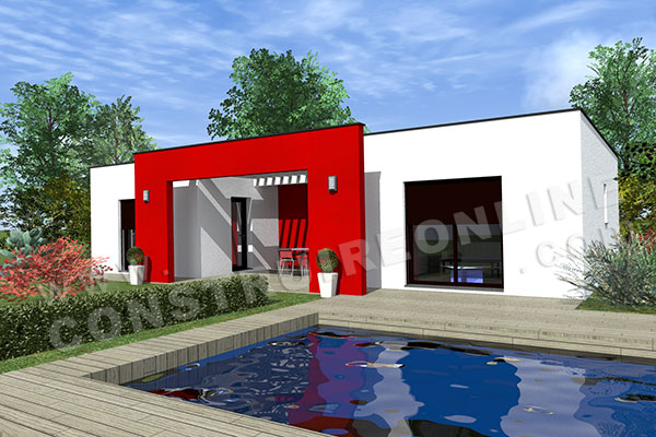 Vente de plan de maison contemporaine for Plan maison contemporaine en u