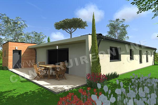 Vente de plan de maison plain pied for Modele maison en l plain pied