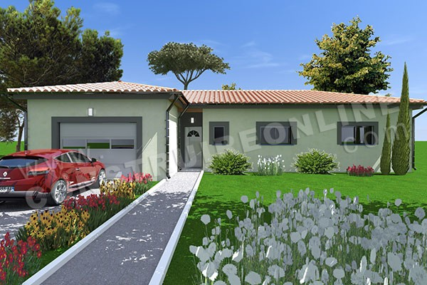 Vente de plan de maison moderne for Prix maison plain pied 100m2