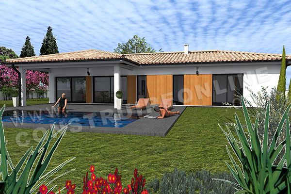 Vente de plan de maison for Maison contemporaine 140m2